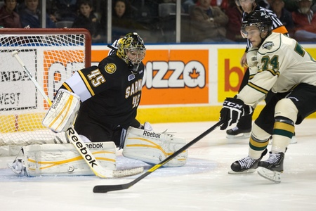 maxwell: London Ontario, Canada - October 30, 2011. Sarnia Sting goalie Brandon Maxwell moves to make a save against Dane Fox (74) of the London Knights during the first round of the shootout. London won the game 3-2.