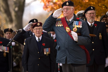 London Ontario, Canada - November 11, 2011. Remembrance Day ceremonies at the Cenotaph in Victoria Park in London Ontario Canada.