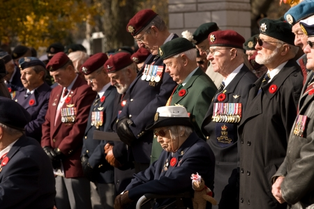 London Ontario, Canada - November 11, 2011. A group of veterans during Remembrance Day ceremonies at the Cenotaph in Victoria Park in London Ontario Canada.