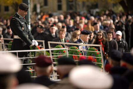 victoria park: London Ontario, Canada - November 11, 2011. Remembrance Day ceremonies at the Cenotaph in Victoria Park in London Ontario Canada.