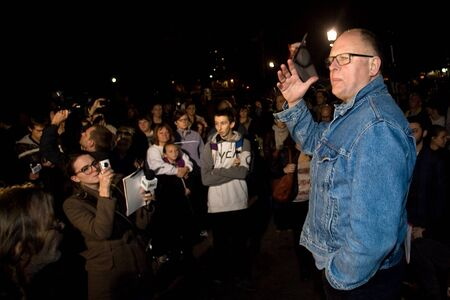 protestor: London Ontario, Canada - November 8, 2011. Sid Ryan, President of the Ontario Federation of Labour speaks to Occupy London protestors and supporters on the day when they received a notice to vacate Victoria Park by 6pm.  Editorial