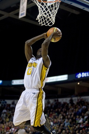London Ontario, Canada - November 4, 2011. DeAnthony Bowden of the London Lightning goes up for a basket in a ga  London won the game 118-110 in front a crowd of 3600 spectators.
