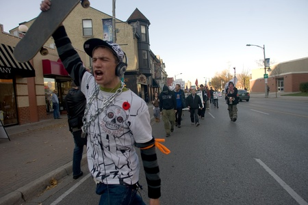 victoria park: London Ontario, Canada - November 12, 2011. What started out as a rally in Victoria Park, where Occupy London was encamped, turned into an impromptu march through the downtown core. The Police informed the protestors that they were within their rights to