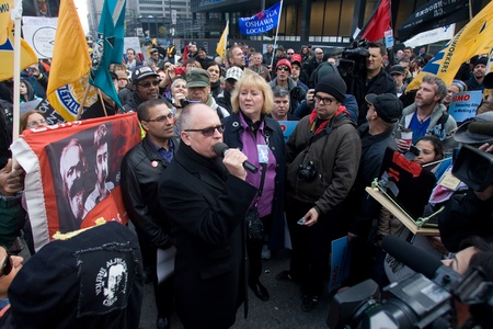 Toronto Ontario, Canada - November 24, 2011. Protestors from Occupy Toronto, London, Kingston and Ottawa join Ontario Federation of Labour members led by Sid Ryan march through the financial district of Toronto.  Sajtókép