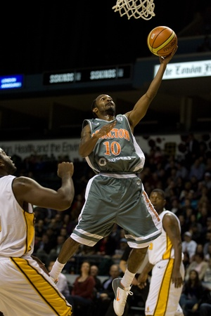 London Ontario, November 24, 2011. Jazzmar Ferguson (10) of the Moncton Miracles goes up for a basket in a National Basketball League of Canada between the London Lightning and Moncton Miracles. London won the game 105-93.