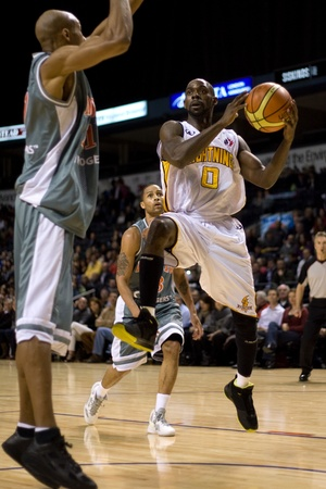 London Ontario, November 24, 2011. DeAnthony Bowden (0) of the London Lightning goes up for a basket in a National Basketball League of Canada between the London Lightning and Moncton Miracles. London won the game 105-93.