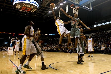 London Ontario, November 24, 2011. Tim Ellis (23) of the London Lightning goes up for a basket in a National Basketball League of Canada between the London Lightning and Moncton Miracles. London won the game 105-93.