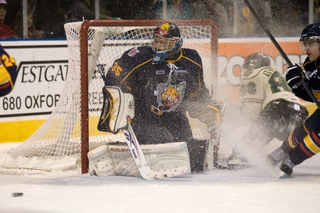 London Ontario, Canada - November 25, 2011. Barrie Colt goalie Mathias Niederberger gets a snow shower in a Ontario Hockey League game between the Barrie Colts and the London Knights. The visiting Barrie Colts won the game 6-2.
