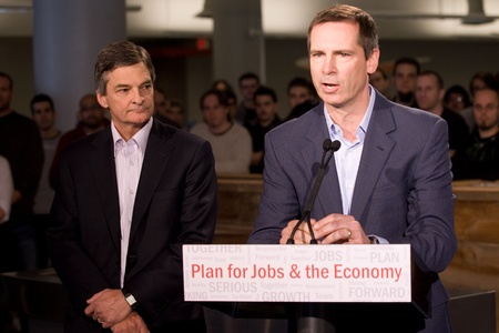 southwestern ontario: London Ontario, November 28, 2011. Dalton McGuinty, right, Premier of Ontario announces an $80million Southwestern Ontario Development Fund along with Chris Bentley, MPP for London West and Minister of the Environment. The funding will be used to create