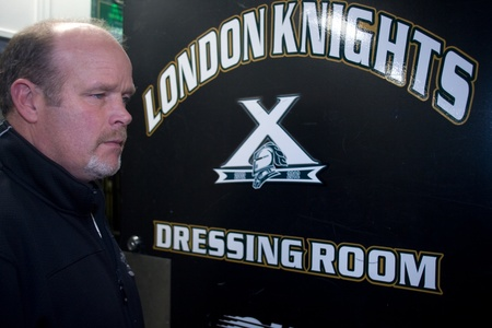 john labatt centre: London Ontario, Canada - November 28, 2011. Mark Hunter, General Manager and now Head Coach of the London Knights of the Ontario Hockey League emerges from the clubs dressing room inside the John Labatt Centre. Mark Hunter takes over the coaching job as h Editorial