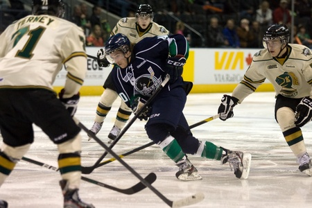 john labatt centre: London Ontario, Canada - November 18, 2011. Alex Aleardi of the Plymouth Whalers carries the puck through a trio of London Knights during a Ontario Hockey League game between the Plymouth Whalers and the London Knights at the John Labatt Centre in London.