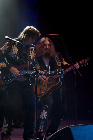 fearing: Hamilton Ontario, Canada - November 19, 2011. Stephen Fearing, left and Tom Wilson of Blackie and the Rodeo Kings performs at the 2011 Hamilton Music Awards Gala held at Mohawk College.