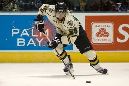 London Ontario, Canada - December 2, 2011. Andreas Athanasiou (86) of the London Knights in a Ontario Hockey League game between the Saginaw Spirit and the London Knights. London won the game 6-0.