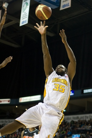 john labatt centre: London Ontario, Canada - December 10, 2011. Shamari Spears (35) takes a shot in a National Basketball League of Canada game between the Oshawa Power and the London Lightning. The visiting Oshawa Power handed London their third loss of the season winning 9