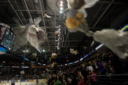 London Ontario, Canada - December 16, 2011. Fans young and old toss over 9000 stuffed teddy bears onto the ice during the annual Teddy Bear Toss in an Ontario Hockey League game between the London Knights and Guelph Storm played at the John Labatt Centr