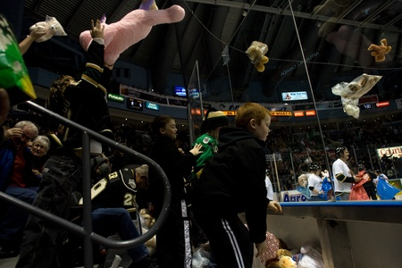 john labatt centre: London Ontario, Canada - December 16, 2011. Young fans throw stuffed teddy bears onto the ice during the annual Teddy Bear Toss in an Ontario Hockey League game between the London Knights and Guelph Storm played at the John Labatt Centre in London. The