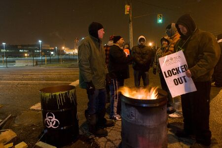 local 27: London Ontario, Canada - January 1, 2012. CAW Local 27 workers have been locked out of the ElectroMotive locomotive factory in London Ontario. At 11:59 on December 31, 2011 the contract the union had with the company expired. On January 1, 2012 the union  Editorial