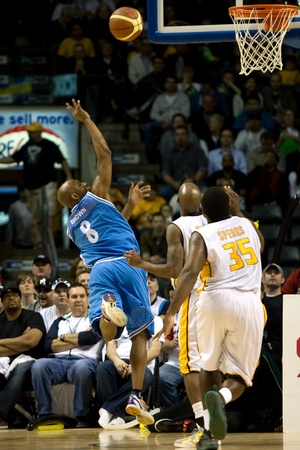 halifax rainmen: London Ontario, Canada - March 25, 2012. Taliek Brown (8) of the Halifax Rainmen takes a shot in game five. The London Lightning defeated the Halifax Rainmen 116-92 in the fifth and deciding game to win the National Basketball League of Canadas champions