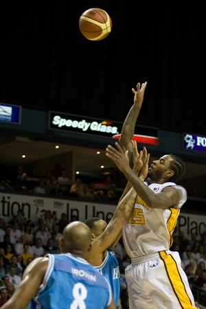 London Ontario, Canada - March 25, 2012. London Lightning player and League MVP Gabe Freeman goes up for a shot in game five. The London Lightning defeated the Halifax Rainmen 116-92 in the fifth and deciding game to win the National Basketball League of
