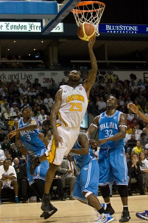 halifax rainmen: London Ontario, Canada - March 25, 2012. London Lightning player and league MVP Gabe Freeman goes up for a basket in game five. The London Lightning defeated the Halifax Rainmen 116-92 in the fifth and deciding game to win the National Basketball League o Editorial