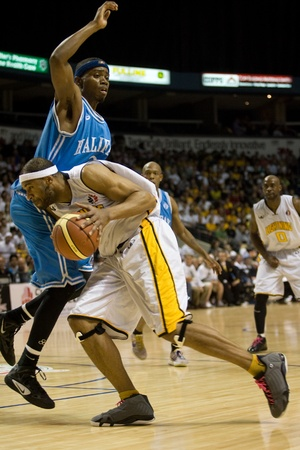 London Ontario, Canada - March 25, 2012. London Lightning player Rodney Buford drives to the basket in game five. The London Lightning defeated the Halifax Rainmen 116-92 in the fifth and deciding game to win the National Basketball League of Canadas cha