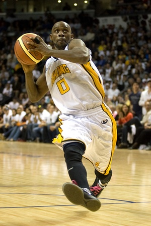 London Ontario, Canada - March 25, 2012. DeAnthony Bowden (0) of the London Lightning. The London Lightning defeated the Halifax Rainmen 116-92 in the fifth and deciding game to win the National Basketball League of Canadas championship. London player Ga