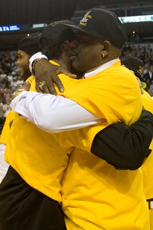 john labatt centre: London Ontario, Canada - March 25, 2012. Micheal Ray Richardson, right and Gabe Freeman embrace after winning the NBL league championship.