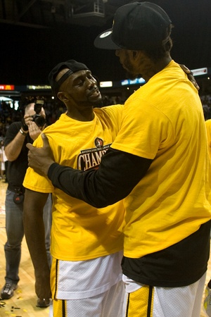 halifax rainmen: London Ontario, Canada - March 25, 2012. DeAnthony Bowden, left and Gabe Freeman celebrate after winning the league championship. The London Lightning defeated the Halifax Rainmen 116-92 in the fifth and deciding game to win the National Basketball League