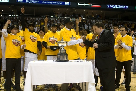 London Ontario, Canada - March 25, 2012.  The London Lightning defeated the Halifax Rainmen 116-92 in the fifth and deciding game to win the National Basketball League of Canadas championship. London player Gabe Freeman was named NBLs season MVP and Lon Editorial