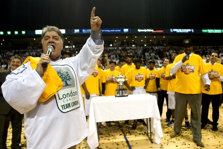 London Ontario, Canada - March 25, 2012. Joe Fontana, Mayor of London Ontario calls out the more than 5000 fans who were in attendance for game five. The London Lightning defeated the Halifax Rainmen 116-92 in the fifth and deciding game to win the Nation