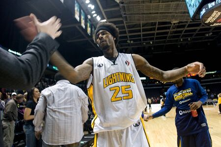 john labatt centre: London Ontario, Canada - March 9, 2012.  Gabe Freeman of the London Lightning celebrates after the Lightning defeated the Saint John Mill Rats 87-82 in front of a record crowd of 3919 at the John Labatt Centre. The Lightning will now play either the Halif
