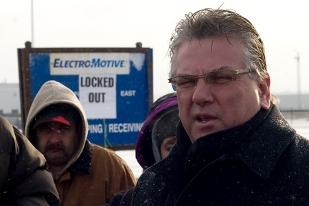 London Ontario, Canada - January 2, 2012. Canadian Auto Workers president Ken Lewenza speaks with locked workers at the Electro Motive plant in London.  CAW Local 27 workers were locked out from the Electro Motive Diesel factory in London on January 1, 20 Stock Photo - 13073100