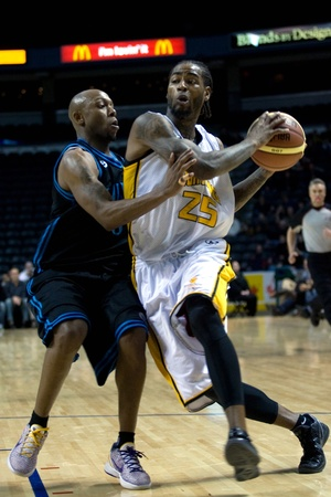 john labatt centre: London Ontario, Canada - January 19, 2012. Gabe Freeman prepares to go up for a basket in a regular season National Basketball League of Canada game between the first place London Lightning and second place Halifax Rainmen.  The Lightning defeated the Rai Editorial