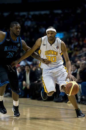 halifax rainmen: London Ontario, Canada - January 19, 2012. Rodney Buford (30) of the London Lightning in a regular season National Basketball League of Canada game between the first place London Lightning and second place Halifax Rainmen.  The Lightning defeated the Rain