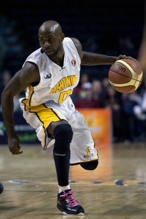 London Ontario, Canada - January 19, 2012. DeAnthony Bowden of the London Lightning in a regular season National Basketball League of Canada game between the first place London Lightning and second place Halifax Rainmen.  The Lightning defeated the Rainme