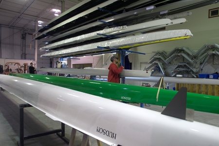 prior: London Ontario, Canada - March 5, 2012. A Demo-boat is moved in to the final assembly area to be cleaned up prior to being shipped to a potential customer for a trial.  Editorial