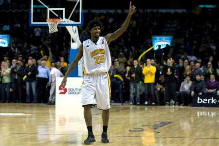 playoffs: London Ontario, Canada - March 9, 2012. Fan favourite and three time play of the week during the regular season, Gabe Freeman plays up to close to 4000 fans after the Ligthning won the first round of the playoffs defeating the Saint John Mill Rats 87-82 i Editorial