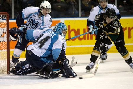 London Ontario, Canada - February 4, 2012. Majors goalie Brandon Maxwell makes a save against Vladislav Namestnikov (18) of the Knights in a Ontario Hockey League game between the London Knights and the Mississauga St. Michaels Majors. London won the game Stock Photo - 13140557