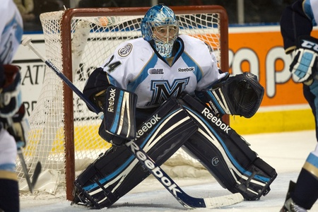 maxwell: London Ontario, Canada - February 4, 2012. Brandon Maxwell of the Majors made more than 45 saves in a Ontario Hockey League game between the London Knights and the Mississauga St. Michaels Majors. London won the game 5-2.