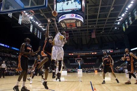 john labatt centre: London Ontario, Canada - February 5, 2012. DeAnthony Bowden (0) of the London Lightning goes up for basket during a National Basketball League of Canada game between the London Lightning and the Oshawa Power. London won the game 129 to 117 in overtime at