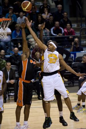 London Ontario, Canada - February 5, 2012. Rodney Buford (30) of the London Lightning goes up for basket during a National Basketball League of Canada game between the London Lightning and the Oshawa Power. London won the game 129 to 117 in overtime at th