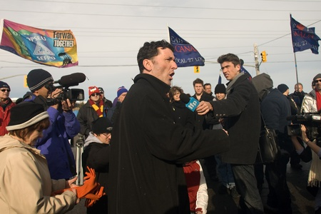 London Ontario, Canada - January 6, 2012. Paul Dewar NDP - MP Ottawa Centre, speaks to locked out Electro Motive workers in London. Electro Motive workers were locked out by the parent company - Caterpillar- on January 1, 2012 after the union rejected the Stock Photo - 13118936