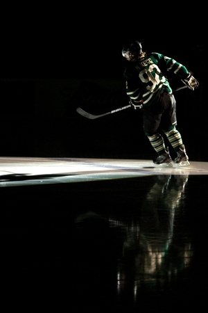 john labatt centre: London Ontario, Canada - April 13, 2012. Greg McKegg (92) skates out at the start of game five of the second round in the Ontario Hockey League playoffs. The London Knights defeated the Saginaw Spirit 2 - 1 in overtime at the John Labatt Centre taking a t Editorial