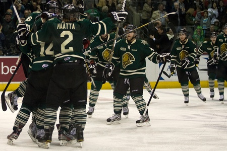 London Ontario, Canada - The London Knights celebrate after Vladislav Namestnikov scores in overtime to win the game. The London Knights defeated the Saginaw Spirit 2 - 1 in overtime at the John Labatt Centre taking a three to two series lead.