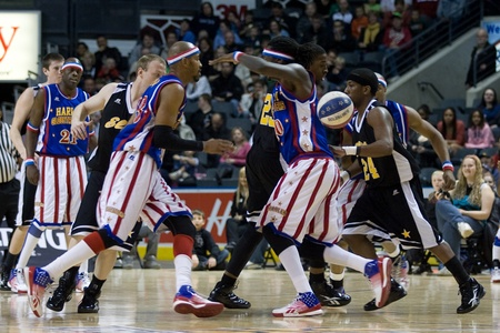 London Ontario, Canada - April 14, 2012. The Harlem Globetrotters brought their show and defeated the International Elite to win the World Championship at the John Labatt Centre in London Ontario.