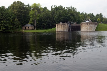August 9, 2010. A lock on the Trent-Severn waterway in Eastern Ontario. The Trent-Severn waterway is operated by Parks Canada and may experience reduced operating hours in 2012 as a result of the job cuts to the public sector initiated by the Harper Gover Stock Photo - 13455891