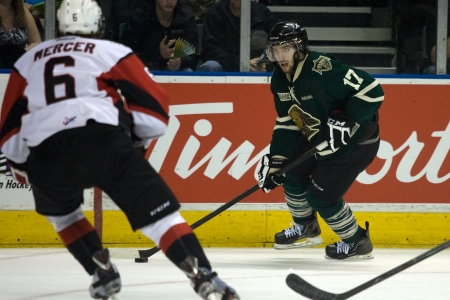 john labatt centre: London Ontario, Canada - May 11, 2012. Seth Griffith (17) looks to make a play during the third period. The London Knights defeated the Niagara Icedogs 2 -1 to win the Ontario Hockey League Championship series 4 - 1. The Knights will now play for the nati Editorial