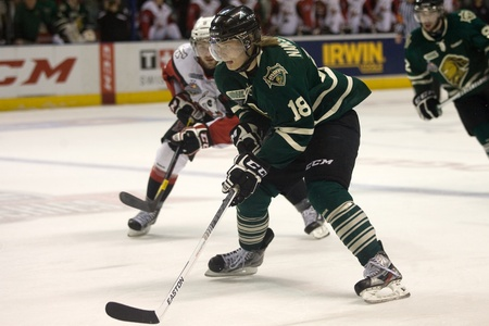 London Ontario, Canada - May 11, 2012. London Knight forward Vladislav Namestnikov (18) carries the puck in the second period. The London Knights defeated the Niagara Icedogs 2 -1 to win the Ontario Hockey League Championship series 4 - 1. The Knights wil
