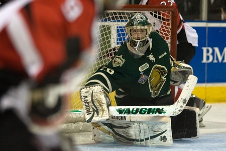 London Ontario, Canada - May 11, 2012. London Knights goalie Michael Houser was close to perfect stopping 26 of the 27 shots the Niagara Icedogs fired at him. The London Knights defeated the Niagara Icedogs 2 -1 to win the Ontario Hockey League Championsh