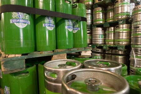 brewery: Toronto Ontario, Canada - June 5, 2012. Kegs waiting to be filled at the Steam Whistle brewery in Toronto Ontario, Canada.  Editorial